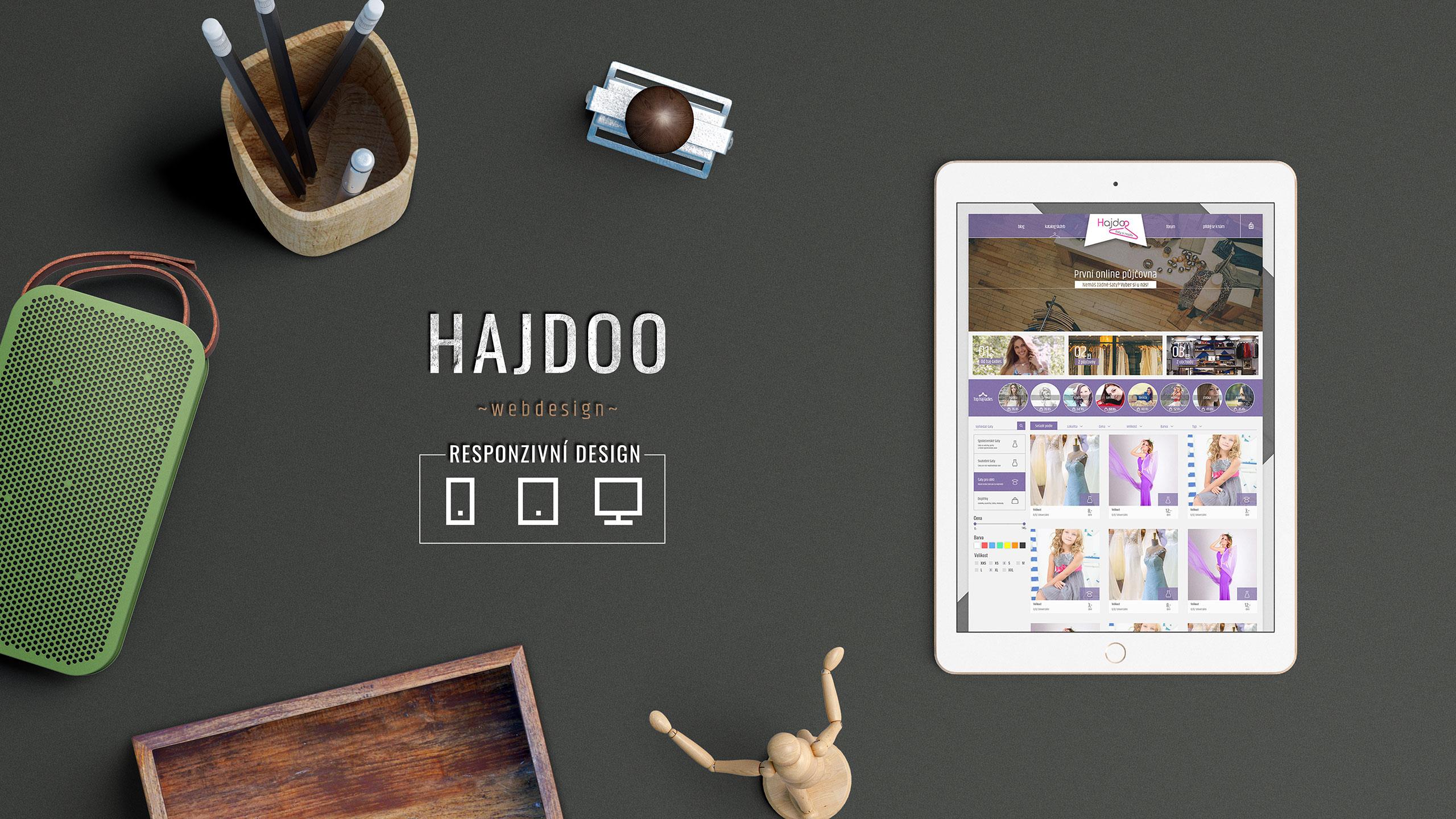 Hajdoo tvorba grafické šablony pro e-shop s online půjčovnou šatů